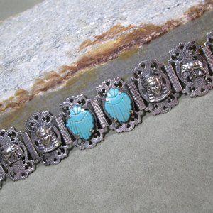 Sterling Silver SCARAB Bracelet, 1923 World Fair